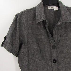 Harve Bernard Linen/Cotton Button Front Blouse XL